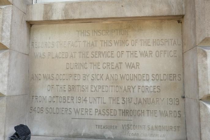 Plaque Outside the east Wing, St Bartholomews Hospital, London